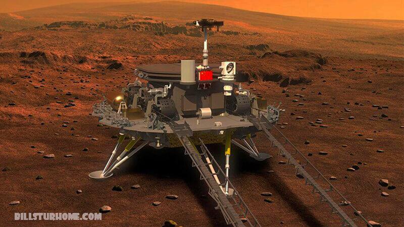 จีนลงจอด Zhurong rover บนดาวอังคาร จีนประสบความสำเร็จในการนำยานอวกาศลงจอดบนดาวอังคารสื่อของรัฐประกาศเมื่อต้นวันเสาร์หุ่นยนต์ Zhurong